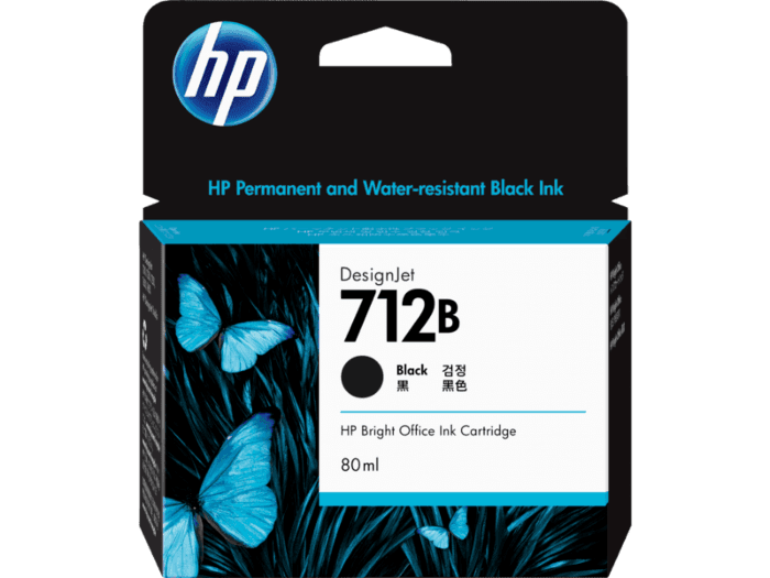 HP 712B 80-ml Black DesignJet Ink Cartridge