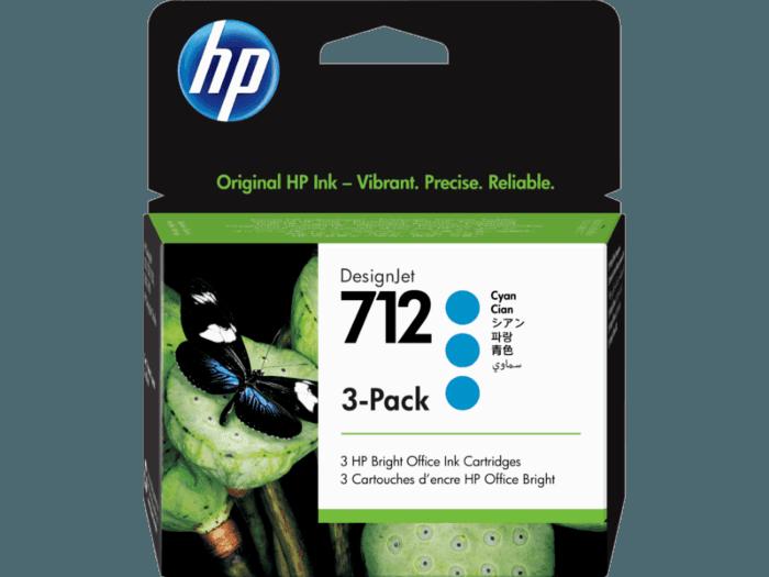ตลับหมึกแท้ HP 712 สีฟ้า 29 มล. แพ็คละ 3 ชิ้น (3ED77A) สำหรับเครื่องพิมพ์พล็อตเตอร์ DesignJet T650, T230, T210 และ Studio