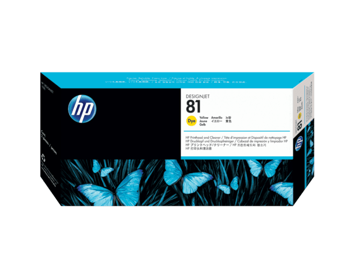 HP 81 Yellow DesignJet Dye Printhead and Printhead Cleaner