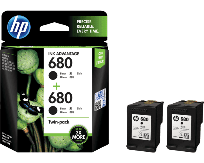 HP 680 2-pack Black Original Ink Advantage Cartridges